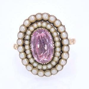Pink Topaz and Pearl Ring