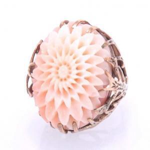 Coral Chrysanthemum Ring