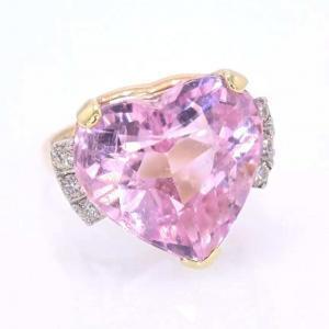 Pink Tourmaline Heart and Diamond Ring