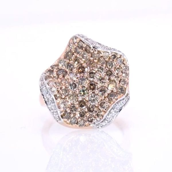 Champagne and White Diamond Ring