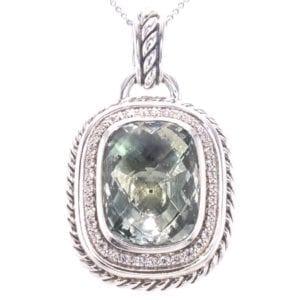 David Yurman Praisiolite and Diamond Pendant