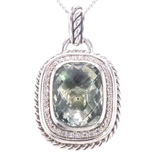 David Yurman Praisiolite and Diamond Pendant