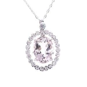 Pink Beryl and Diamond Necklace
