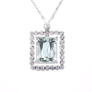Blue Beryl and Diamond Necklace