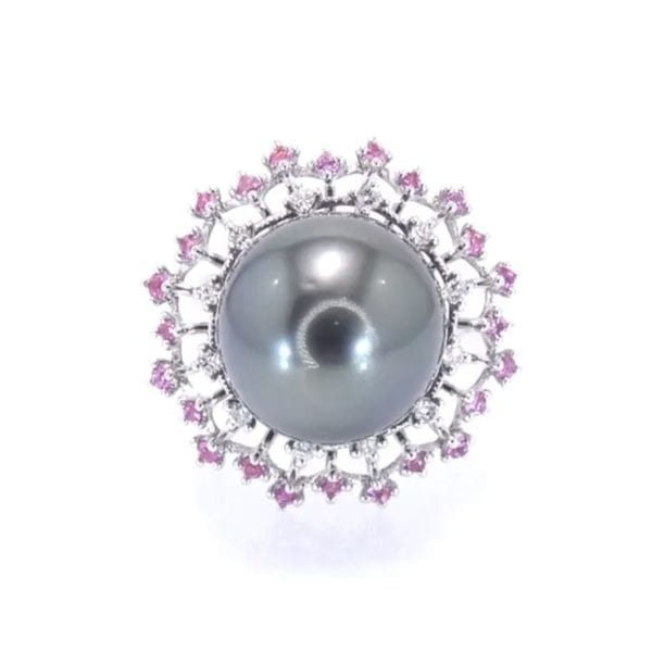 Tahitian Pearl, Pink Sapphire and Diamond Ring