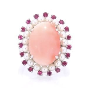 Coral, Pearl and Ruby Ring