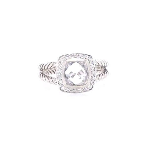 David Yurman White Topaz and Diamond Ring