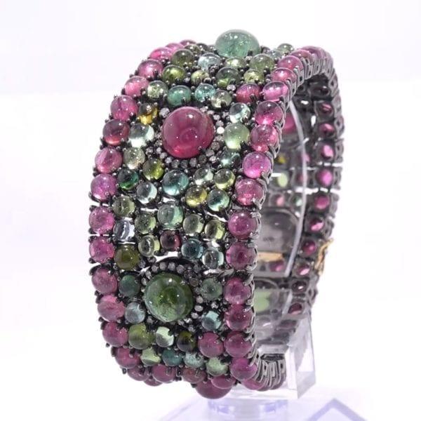 Pink and Green Tourmaline Bracelet